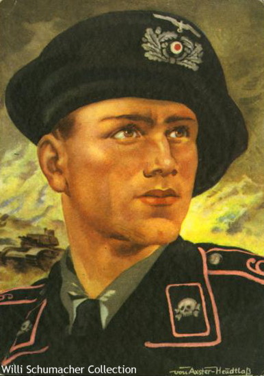 Color painting of an Army panzer crewman in Panzer-Regiment 6 as denoted on the shoulder straps.