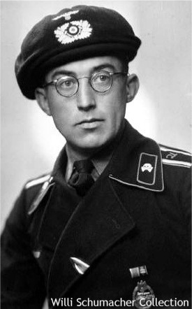 "Early war Army Unteroffizier panzer crewman. Notice the embroidered ""A"" in Gothic on the shoulder strap for Aufklärungs (Motorized Reconnaissance) and his awards of the Iron Cross 2nd Class and Panzer Assault Badge."