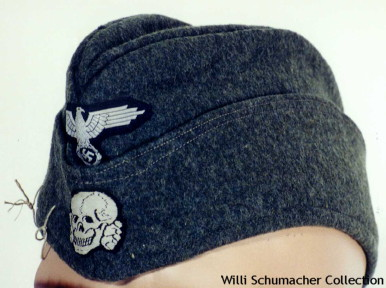 Standard Waffen-SS enlisted overseas cap. This cap was based on the Luftwaffe overseas cap design. The insignia is machine-woven.