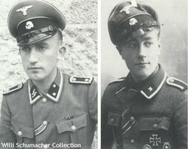 These two Waffen-SS volunteers from the Westland Regiment demonstrate the SS black leather chin strap (left) and the Army black leather chin strap (right).