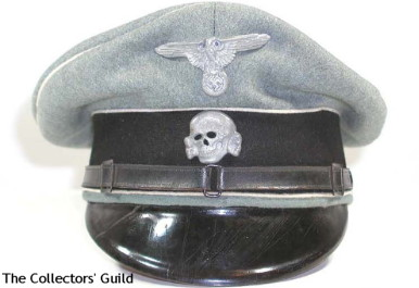 This is an example of the Waffen-SS NCO/Other Ranks Service Cap with the black leather chin strap in the SS style with the break in the center and two adjustments – one on each side.