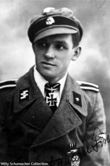 "Ritterkreuzträger SS-Unterscharführer Gerhard Fischer, Zugführer of 3rd Company/SS-Panzerjäger-Abteilung 5, 5. SS-Panzer-Division ""Wiking"" wearing the crusher cap with his assault gun uniform."