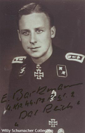 "Ritterkreuzträger and Officer Candidate Ernst Barkmann of SS-Panzer-Regiment 2, 2. SS-Panzer-Division ""Das Reich"". Notice the numeral ""2"" on each shoulder strap denoting the regiment. Barkmann's collar tabs are piped in silver twist cord, usually indicating an officer candidate."