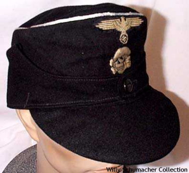 Waffen-SS Officer Black Panzer M1943 Field Cap with 2-piece enlisted insignia and aluminum wire piping.