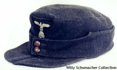 Waffen-SS Enlisted Black Panzer M1943 Field Cap with two black-painted buttons and machine-woven trapezoid insignia.