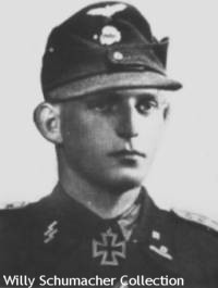 Waffen-SS Knight's Cross Recipient and Panzer Commander Korner wearing the black panzer M1943 field cap.
